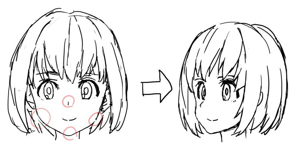 女の子の顔の描き方 凹凸を意識する